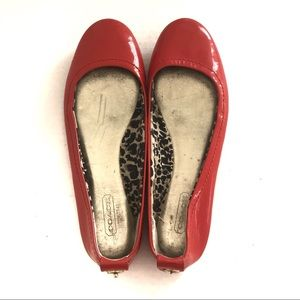 Coach Red Patent Leather Flats Size 8